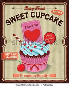 Vintage cupcake poster design by Donnay Style, via Shutterstock