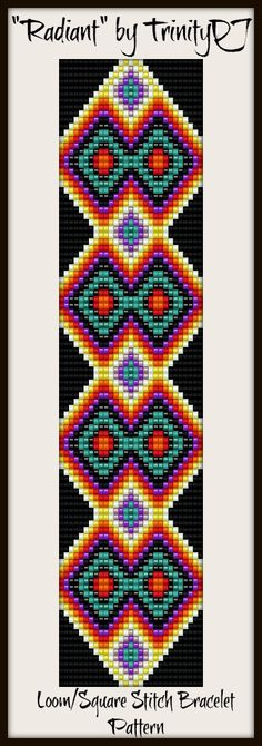 "Some bold colors to brighten up the day -""Radiant"" is a Loom of square stitch bracelet pattern, in my Etsy Shop as direct download. Please follow this link for more info: https://www.etsy.com/listing/156804617/bp-loom-021-radiant-loom-or-square"