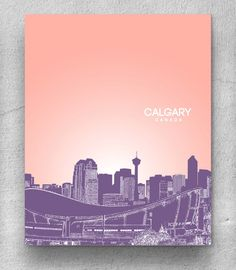 Calgary Canada City Skyline / Travel City Wall Art Poster / Office Art Poster / Any City or Landmark. $20.00, via Etsy.