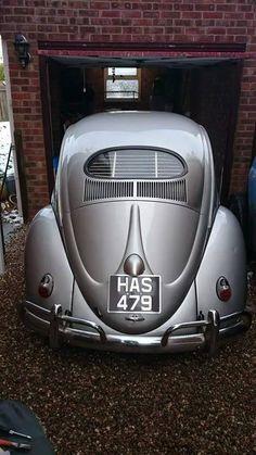 Silver Oval Window VW Beetle