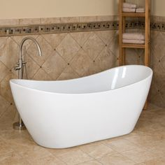 "72"" Rocco Double Slipper Acrylic Tub - Overflow - No Faucet Holes - Brushed Nickel Drain CODE: 108883"