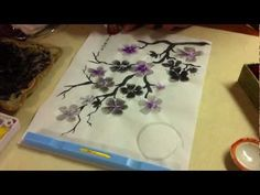 Sumi-e painting of purple cherry blossoms in the moon light Sumi E Painting, Sumi Ink, Chinese Brush, Painting Videos, Cherry Blossoms, Art Tips, Art Techniques, Asian Art, Art Tutorials