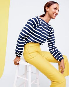 J.Crew women's striped peasant top and Collection cropped pant with patch pockets.