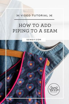 Learn how to sew piping into a seam with this video tutorial. Piping is a great way to add an extra bit of detail to your garments or home decor items. Plus, it's fairly easy to do. Sewing Basics, Sewing For Beginners, Easy Sewing Patterns, Sewing Tutorials, Sewing Piping, Learn To Sew, Sewing Clothes, Stitch, Clothes For Women