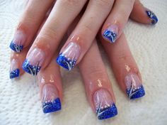 nails blue franch