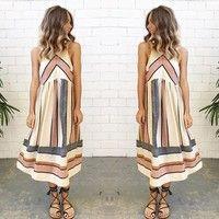 Wish   Beach Boho Sundress Women Printed Sleeveless Summer Casual Evening Party Dress