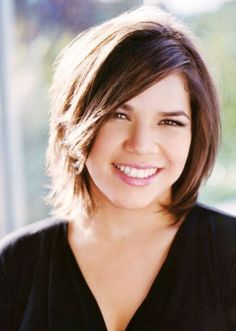 Top 60 Flattering Hairstyles for Round Faces - America Ferrera bob hairstyle for overweight women - Short Haircut For Round Faces, Round Face Haircuts, Haircut For Thick Hair, Hairstyles For Round Faces, Cool Haircuts, Cool Hairstyles, Pixie Haircuts, Wedding Hairstyles, Men's Hairstyle