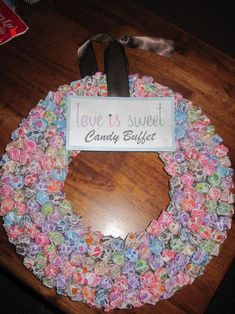 DumDum wreath and bouquet -- definitely for the hubster! Saw one with bouquet in a vase filled with Skittles :) He'd LOVE it!
