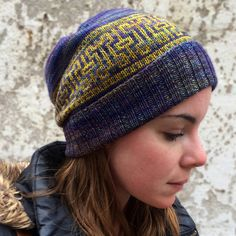 Ravelry: Artifact Hat pattern by Erica Heusser Color Patterns, Knitting Patterns, Knitting Ideas, Ravelry, Pattern Library, Pattern Blocks, Stitch Markers, Hand Knitting, Knitted Hats