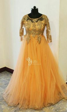 A peach bridal dress with kundan work and lots of flare! For orders and queries reach us at 044-42179088 or 9789903599