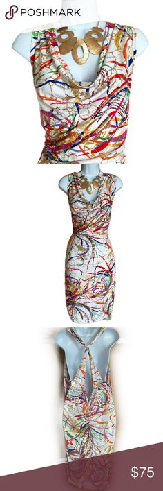 Sexy Bodycon Splatter Print Dress - Curve Hugging The colors in this dress are just incredible! Has waterfall collar, plunging back, and is rushed at the side and in back. Size is 2XL and the material is 92% polyester and 8% spandex. Measures about 37 inches in length, 19 inches across from armpit to armpit, and about 17 inches at the waist. The stretchy material adds about another 6 inches to the numbers above. Eien Dresses