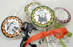 Googly Ghouls lolly pop treats using empty button/brad containers