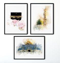 Felsendom Al Aqsa Mekka Medina Moschee Print Jerusalem Palästina Qubbat as-sachra Poster Islamic Decor, Islamic Wall Art, Dome Of The Rock, Islamic Posters, Mekka, Buch Design, Unique Wallpaper, Islamic Art Calligraphy, Ad Art