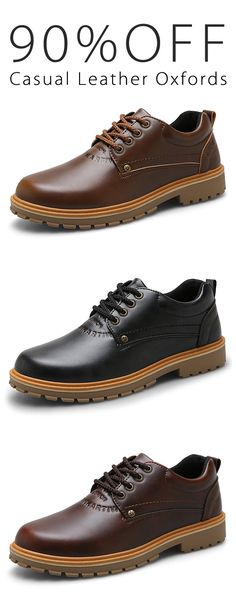 90%OFF&Free shipping. Men Shoes, Casual&Business, Soft Leather, Lace Up, Low Top Oxfords Shoes. Color: Color: Black, Dark Brown, Light Brown. Shop now~