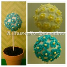 Topiary cake pops or spring cake pops....with or without flower pot, by A Taste To Remember.  Can also be used as wedding favor cake pops. Flowers can be customized to match your wedding theme or party theme.