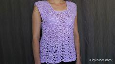 Japanese fan stitch women's top crochet pattern - crochet short sleeve l...
