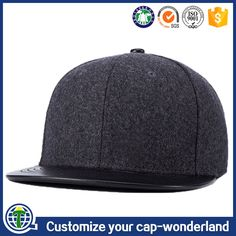 233fd3027f3 High quality blank black flat leather short brim yupoong plain snapback hats  wholesale plain woolen caps