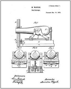 1911 Colt 45 Pistol PATENT, Drawing Design, ART Print
