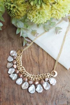 Pearl & Chain Necklace.  I like these pearls.  I must find these pearls in black.