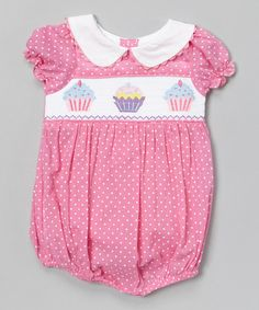 Loving this Pink Cupcake Smocked Bubble Bodysuit - Infant on #zulily! #zulilyfinds