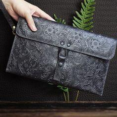 f87e6338e540 Handmade Leather Floral Tooled Mens Clutch Cool Slim Wallet Zipper Clu –  iChainWallets Wristlet Wallet