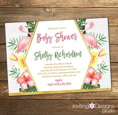 Tropical Baby Shower Invitation / Summer Baby Shower / Pink and Orange Flamingo / Tropical Greenery / Digital File or PRINTED INVITATION by InvitingDesignStudio on Etsy