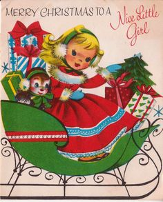 1959 Merry Christmas To A Nice Little Girl Vintage Greetings Card