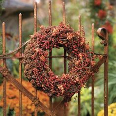 dried autumn wreath on a rusty garden gate.