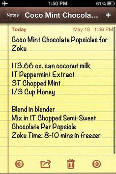 Coco mint chocolate popsicles for zoku #zoku #glutenfree