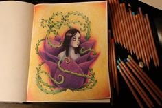 Flower with thorns.Color pencil speed drawing.