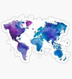 Pegatina Watercolor Map of the World