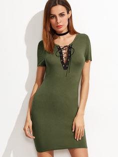 60fd82eb43 #AdoreWe #SheIn Dresses - SheIn Olive Green Contrast Lace Up V Neck Bodycon  Dress