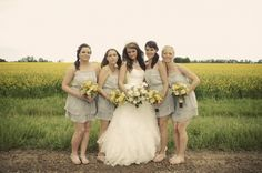 grey bridesmaid dresses yellow bouquets