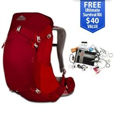 Gregory Z 35 2014 Spark Red - Large is a ventilated backpack that offers a host of technical features designed to improve your comfort .