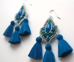 Tassel Earrings Chandelier Earrings Beaded Jewelry от QJBoutique