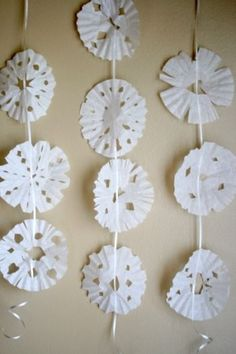 Hanging up Snowflakes on a Chain