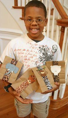 Zoo animal gift bags