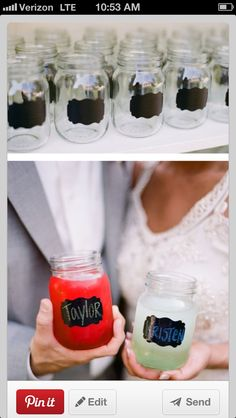 *Also as food identifier! Write with chalkboard and have a rose in the jar!* Good idea for chalkboard label stickers- place on mason jars :backyard campout or other parties so people can identify their glass/minimize waste of other glasses