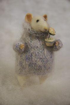 rat with a flowerpot