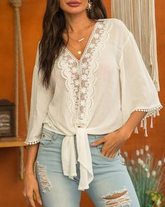 Lace Trim Knotted Design Casual Blouse trendiest dresses for any occasions, including wedding gowns, special event dresses, accessories and women clothing. Bohemian Tops, Trend Fashion, Women's Summer Fashion, Fall Fashion, Latest Fashion, Selena, Moda Boho, Event Dresses, Pattern Fashion