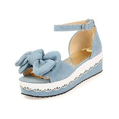 WeenFashion Womens Open Toe Kitten Heel Platform Fabric Soft Material Solid Sandals with Bowknot Lightblue 75 BM US -- Read more reviews of the product by visiting the link on the image.(This is an Amazon affiliate link and I receive a commission for the sales)