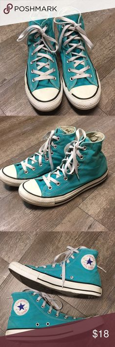 Converse teal high tops. Converse trap high tops. Women's size 8  men's size 6. Loved but still has a lot of life in them. Converse Shoes Sneakers