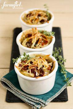 Make-Ahead Individual Potato Gratins with Bacon and Mushrooms - www.afarmgirlsdabbles.com