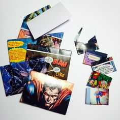 Small comic book superhero envelopes with by GreetingWithLove