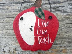 Teachers Gift Apple Salt Dough Ornament Thank You Appreciation Gift. $4.95, via Etsy.