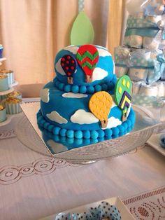 Hot air baloons, balões de ar, bolo, balão, bolo de menino, festa, party, chá de bebê, baby shower