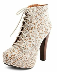 Ivory Lace Qupid Vintage Chunky High Heel Bootie Lace Up Shoe | eBay