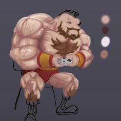 Estudo digital, Zangief, Street Fighter Series. Philipe Marchiolli