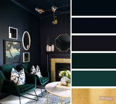 The best living room color schemes - Dark blue, dark green, gold and Blueberry color scheme The living room is the place where friends and family gather to spend quality time in a home, so it's important for it to. Dark Blue Rooms, Blue And Green Living Room, Good Living Room Colors, Dark Living Rooms, Living Room Color Schemes, Blue Color Schemes, Bedroom Green, Living Room Designs, Green Living Room Ideas