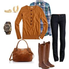 """""""Quincy tartan and cashmere"""" by jencirino on Polyvore- Ha!  This is so much like the outfit I just wore on Saturday!"""